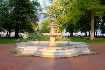 Annecy, France - April 28: View of the fountain in the park Gardens of Europe. on April 28, 2017 in...