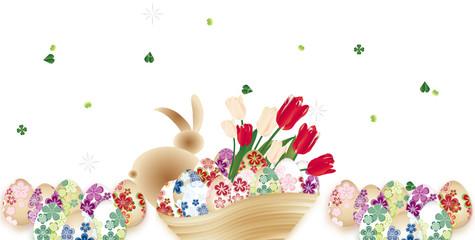 イースター和柄の卵にうさぎと春の花が木の器に入ったイラストのバナースタイル背景素材