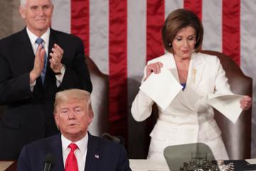 Speaker of the House Nancy Pelosi (D-CA) rips up the speech of U.S. President Donald Trump in Washington