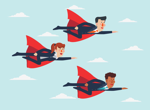 Super Businessmen and Super Businesswoman. Cartoon superhero flying with cape waving in the wind. Successful hero business people. Success, leadership and victory in business vector concept