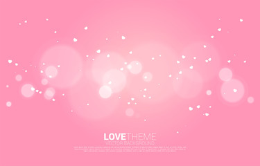 Flying small Heart and light Bokeh effect background. valentine's day and love theme banner and poster