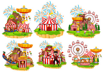 Different circus rides with fireworks in background