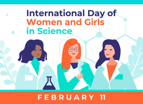 International Day of Women and Girls in Science February 11 vector illustration. Three beautiful female scientists. Abstract molecules background. Trendy flat design for social media, poster, banner