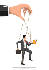 Businessman marionette is hanging on ropes. Hand of puppeteer holding business man on leash. Puppet doll worker, abuse of power, manipulation. Vector illustration in flat style