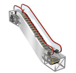 エスカレーターの内部構造、仕組み
