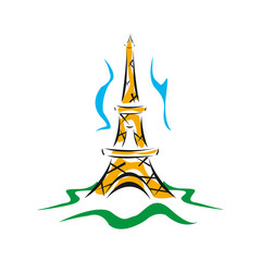 Eiffel Tower logo icon. Old style. Symbol french, Paris, holiday, travel tour. Black silhouette tall building Eifel Tower isolated white background. Modern architecture design Vector illustration inEP