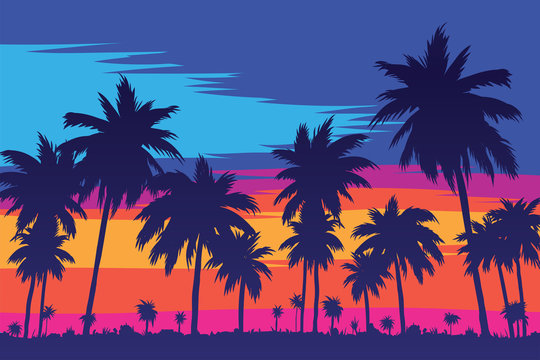 Evening on the beach with palm trees. An evening on the beach with palm trees. Colorful picture for rest. Blue palm trees at sunset. Orange sunset in the blue sky. Palmeny island. Summer sunset agains