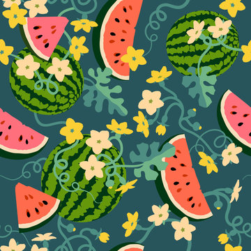 Watermelons, watermelon slices, watermelon leaves and vines, watermelon flowers, watermelon blooms. Seamless background