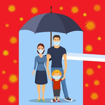 family in respiratory protective mask and coronavirus cell disease. Coronavirus 2019-nC0V Outbreak, Travel Alert concept. The virus attacks the respiratory tract, pandemic medical health risk.