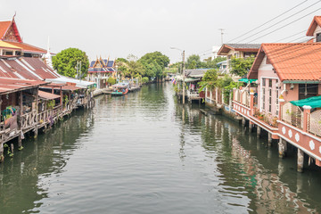 View from a bridge over canal at Khlong Bang Luang Floating Market,