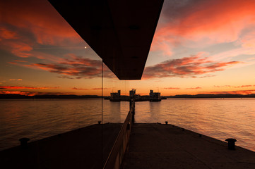 Sunrise at Regina's port in Santander bay