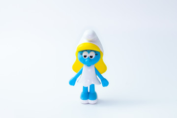 Kouvola, Finland - 23 January 2020: Smurfette a female Smurfs toy figure model character from The Smurf movie. There are plastic toy sold as part of the McDonald's Happy meals.