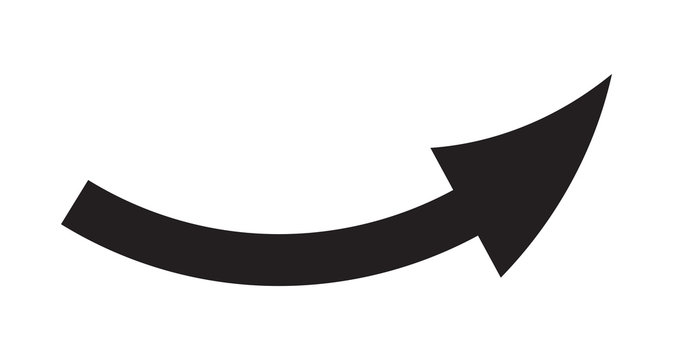 Black Bent Direction Arrow On A white Background