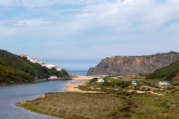 View along the Ribeira de Seixe towards Praia de Odeceixe and the Atlantic Ocean at the Algarve, Portugal.