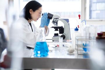顕微鏡を覗き込む女性