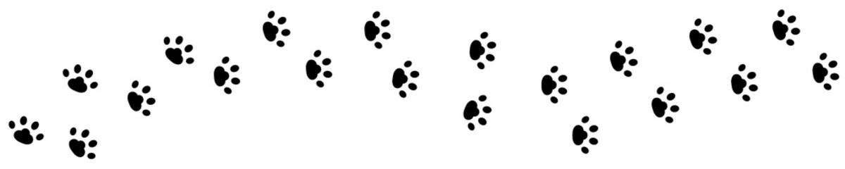 Dog cat paw print track diagonal. Footpath trail silhouette. Black footprint set. Wildlife animal. White background. Isolated. Flat design.