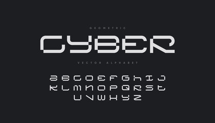 Cyber sports font design. Futuristic vector alphabet.