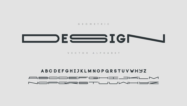 Minimal font with normal and wide letters. Trendy font design.