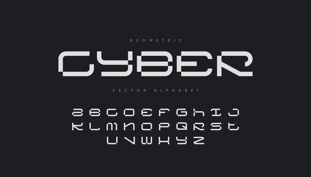 Cyber sports font design. Futuristic vector alphabet.