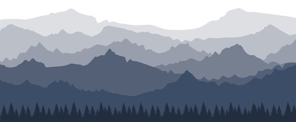Wall Murals White A landscape with a perspective view of the mountains in several layers. Banner with a silhouette of a forest and mountains. Misty morning view in the Alps. Simple vector illustration.