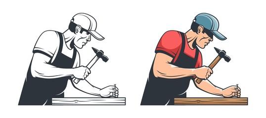 Repairman carpenter hammering a nail - retro illustration. Handyman with hammer - vintage vector image.