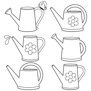 Watering cans illustration collection. Vector black and white coloring page