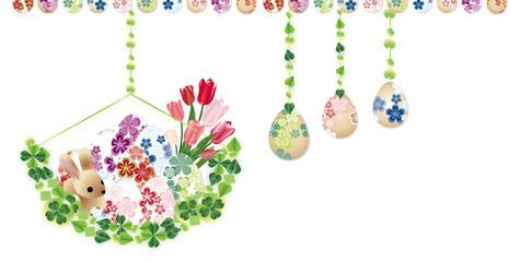 イースターエッグオーナメントと春の花やうさぎのイラストバナー素材