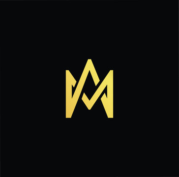 Outstanding professional elegant trendy awesome artistic black and gold color MA AM initial based Alphabet icon logo.
