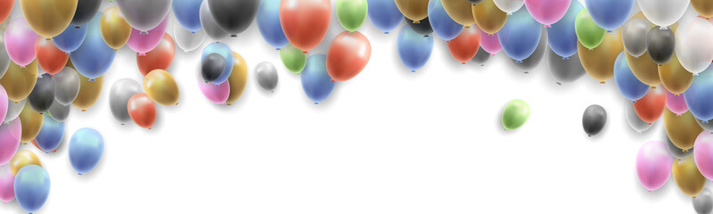 Birthday Party Banner Background with Balloons on White Background