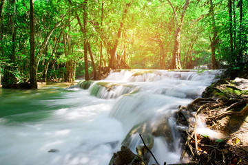 beautiful waterfall, forest background, landscape