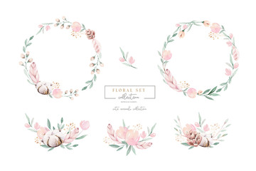 Watercolor floral wreath and bouquet frame illustration with cotton balls peach color, white, pink, vivid flowers, green leaves, for wedding stationary, greetings, wallpapers,  background,