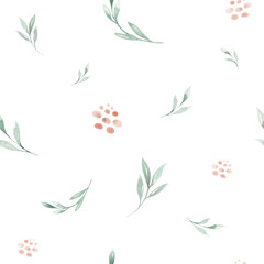Fototapeta Hand drawing seamless watercolor floral patterns with rose, green leaves, branches and flowers. Bohemian wallpaper gold pink pattern prorea. Background for greeting wedding card. obraz
