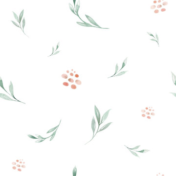 Hand drawing seamless watercolor floral patterns with rose, green leaves, branches and flowers. Bohemian wallpaper gold pink pattern prorea. Background for greeting wedding card.