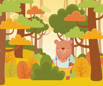 cute bear with clothes in the forest cartoon nature landscape