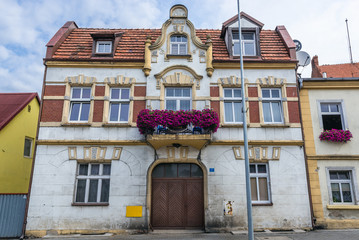 Facade of old house in Czarnkow town located in West Pomerania region of Poland