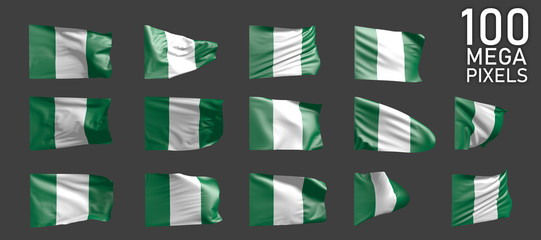 Nigeria flag isolated - different images of the waving flag on grey background - object 3D illustration