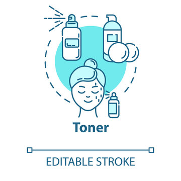 Toner, skin cleanser, face care concept icon. Face skin toning, beauty products, cosmetic procedure idea thin line illustration. Vector isolated outline RGB color drawing. Editable stroke
