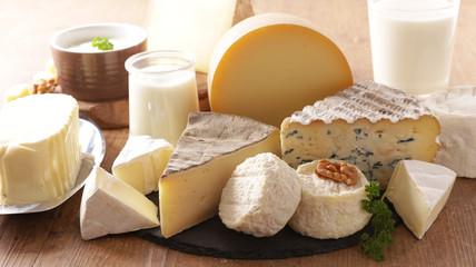 Fototapeta assorted of dairy product- cheese, yogurt, milk and butter obraz