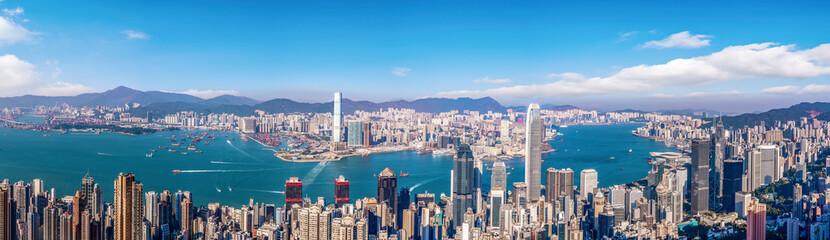 Photo sur Aluminium Hong-Kong Beautiful city skyline of Hong Kong, China..