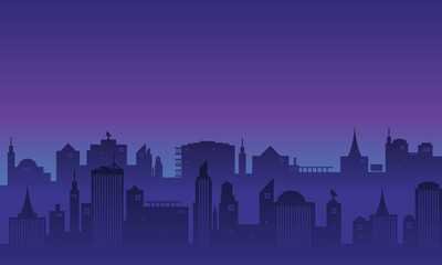 Deurstickers Violet Background many buildings of a city at night