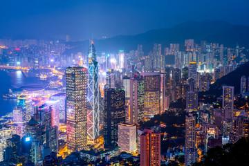Photo sur Aluminium Hong-Kong Beautiful night view of Hong Kong..
