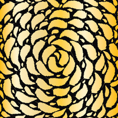 Gold foil and bronze swirling leaves on black background. Seamless vector pattern with subtle metal effect gradient. Elegant hand drawn foliage repeat. For wellbeing, beauty, spa products,packaging