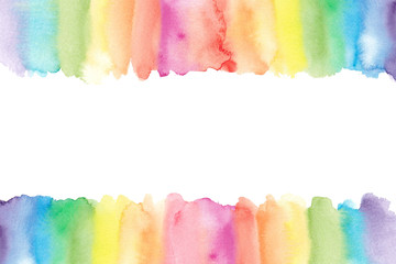 Watercolor rainbow border. Painted rainbow background