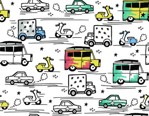 Cartoon car seamless pattern for kids clothes