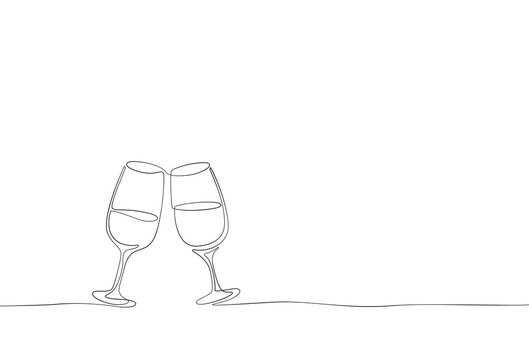 Continuous one line drawing isolated on white background. Vector outline contour glasses of champagne sketch..