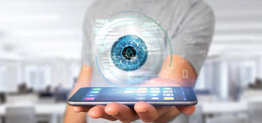 Businessman holding a visual recognition eye concept with data - 3d rendering