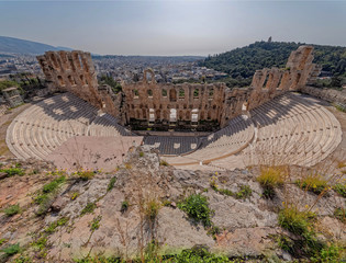 Greece, Herodium open odeon under Acropolis and Athens cityscape