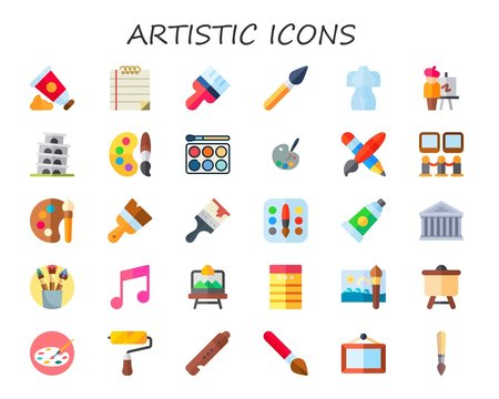 Modern Simple Set of artistic Vector flat Icons