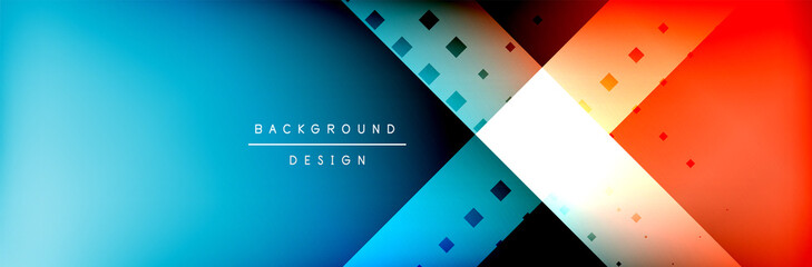 Abstract background - squares and lines composition created with lights and shadows. Technology or business digital template Wall mural