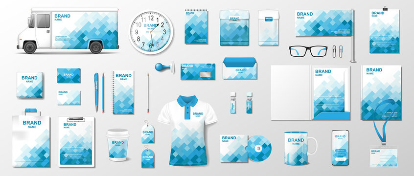 Corporate identity template. Realistic Business Stationery mockup with abstract geometric design. Stationery and uniform, van, brochure, bag, package for your brand. Vector illustration